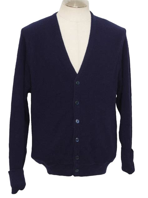 mens cardigan sweaters navy town craft 70 39 s vintage caridgan sweater 70s town craft