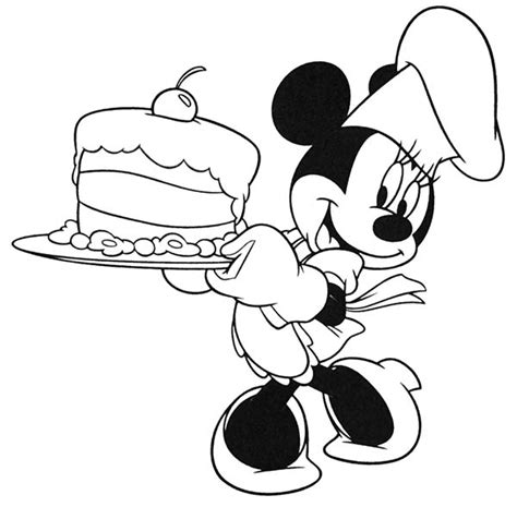 minnie mouse cooking  cake coloring page