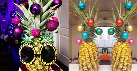 people  decorating  pineapples  christmas trees
