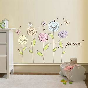 wall decals flowers 2017 grasscloth wallpaper With flower wall decals