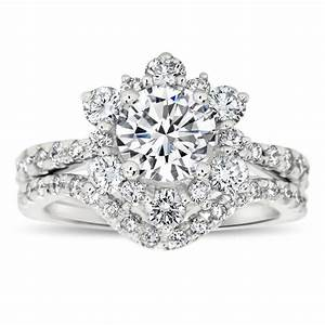Diamond snowflake wedding set engagement ring and wedding for Snowflake wedding ring set