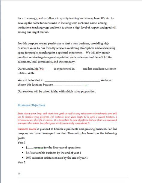 yoga studio business plan sample pages black box