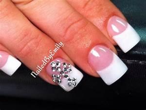 Acrylic nails French tip white tips bling rhinestone cross ...