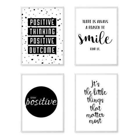 inspirational quote wall art canvas posters black white