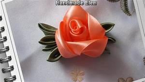 Diy ribbon roses, how to make satin ribbon roses,kanzashi ...