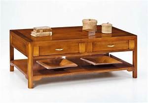 Table De Salon Bois : table basse de salon 2 tiroirs double face lamaisonplus ~ Teatrodelosmanantiales.com Idées de Décoration