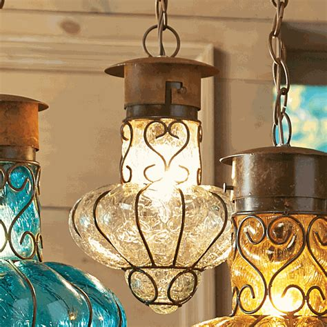 southwestern flower glass pendant light medium