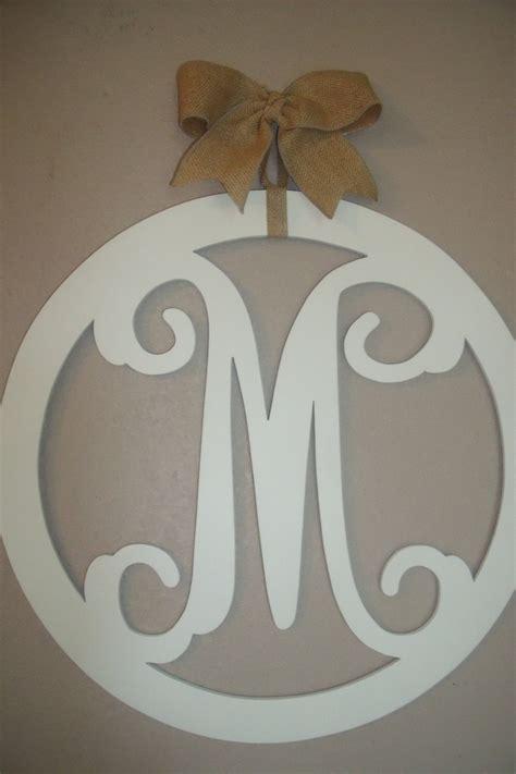 wood monogram   vine letters burlap bow initial door