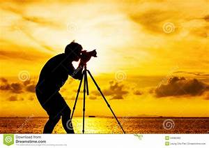 Silhouette grapher With Tripod Stock Image