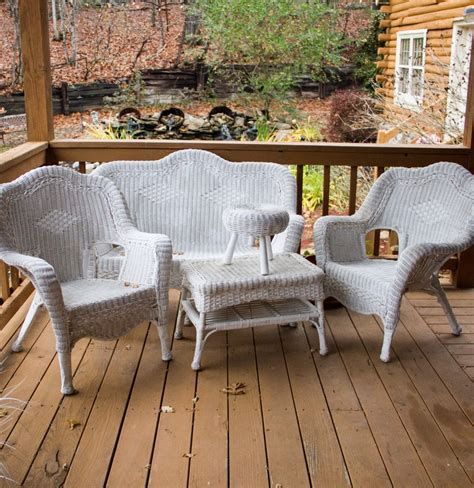 white wicker patio furniture white wicker patio furniture set ebth