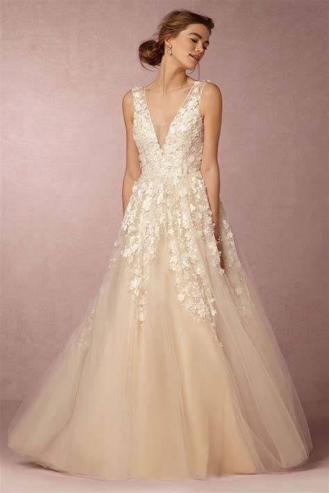 Lace And Tulle Wedding Dress With 3d Floral Appliqué