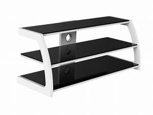 Meuble Tv Metal Noir : meuble tv sitka m tal verre tremp noir et blanc ~ Teatrodelosmanantiales.com Idées de Décoration