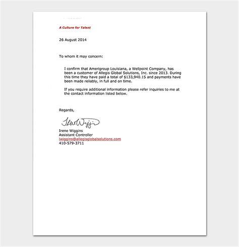 credit reference letter format sample letters word