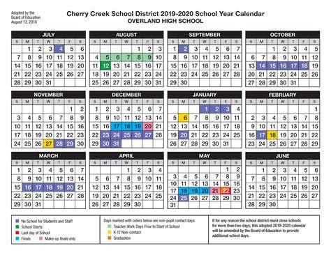 overland high school calendar