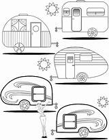 Camper Coloring Trailers Rv Teardrop Trailer Campers Adult Camping Colouring Retro Template Printable Travel Happy Patterns Quilt Camp Clip Caravan sketch template