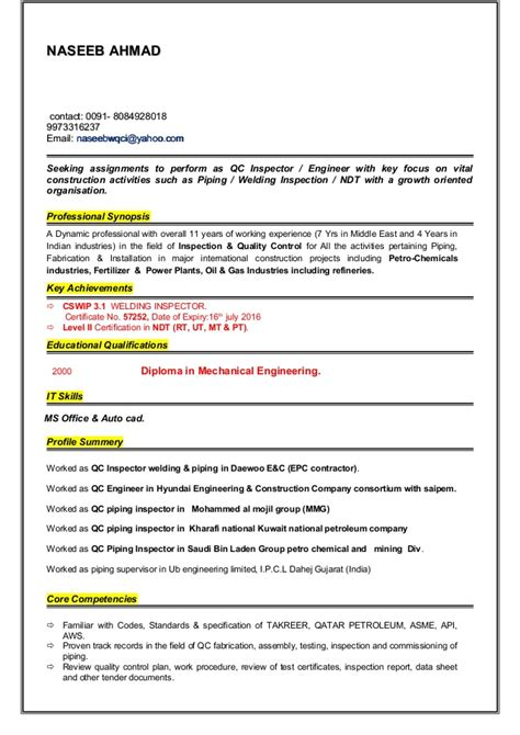 cv resume of qc plant inspector qc welding inspector