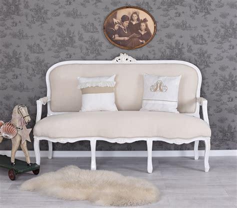 Salon Sofa Barock Sitzbank Vintage Weiss Kanapee Couch