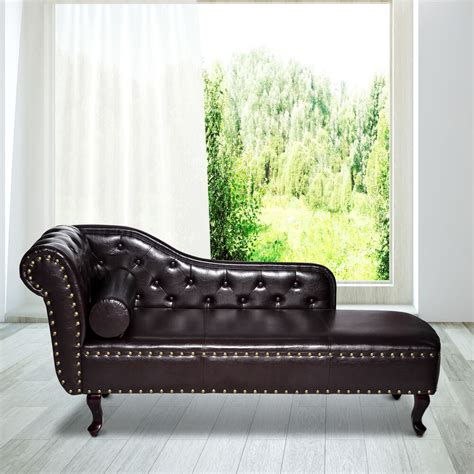 Lounge Chaise Sofa by Deluxe Vintage Style Faux Leather Chaise Longue Lounge