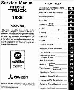 1986 Mitsubishi Truck Repair Shop Manual Original