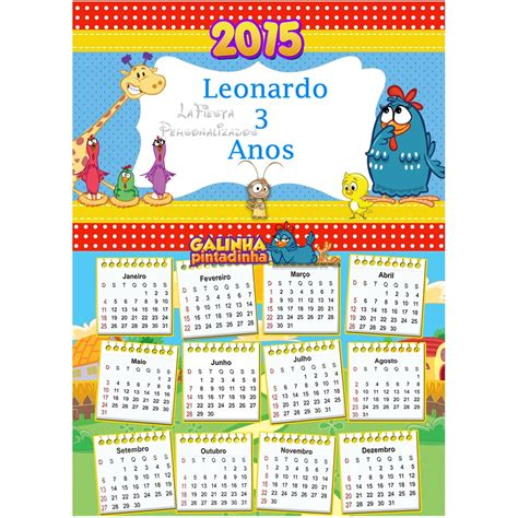Calendário 2015 Galinha Pintadinha no Elo7 LaFiesta