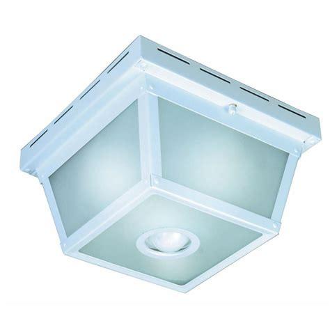 outdoor ceiling mount motion sensor light hton bay 360 degree square 4 light white motion sensing