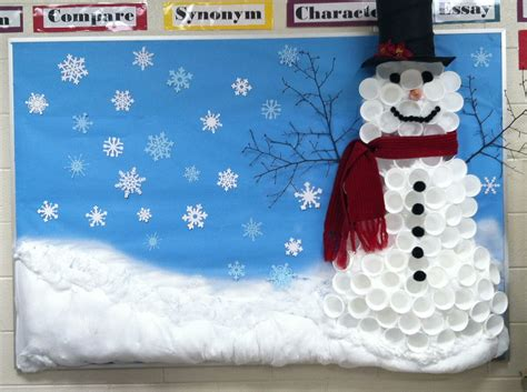 winter bulletin board snowman made out of cups bulletin 433 | 1c1eff9f8479ae7c84c4bd2aed3a9e7e