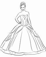 Quinceanera Coloring Dress Clipart Pages Printable Categories sketch template