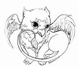 Griffin Coloring Pages Cute Colouring Baby Dragon Adult Sheets Acorns Spike sketch template