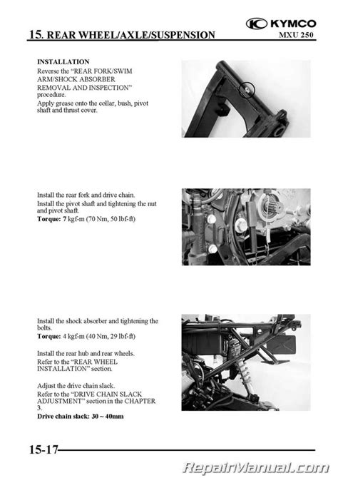 Kymco Mxu Atv Printed Service Manual