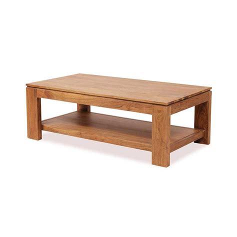 table basse bois but table basse en bois d acacia guntur plateau rectangulaire