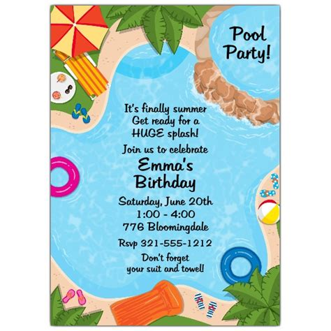 backyard pool party invitations paperstyle