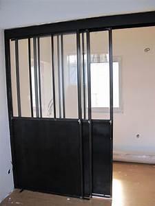 separation vitree avec porte coulissante bigood With porte de garage avec porte intérieure vitrée pas cher