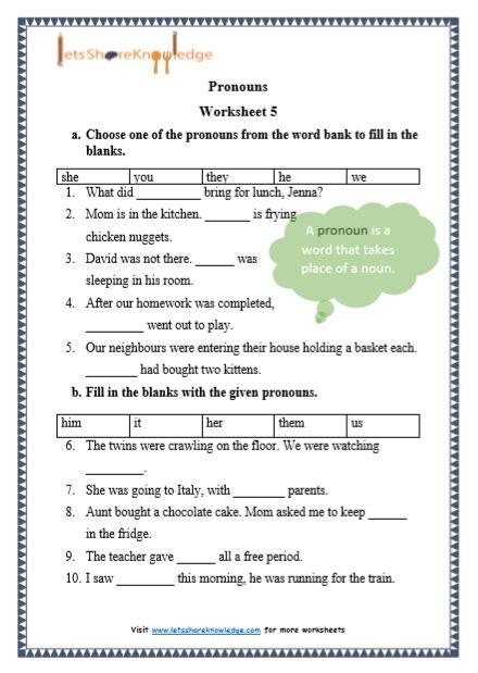 grade  grammar pronouns printable worksheets lets