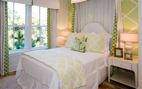 Beach House Guest Bedroom With Pops Of Green, Banded