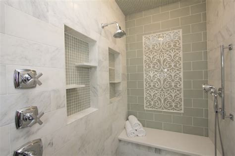glass subway tile bathroom ideas green subway tile backsplash contemporary bathroom robeson design