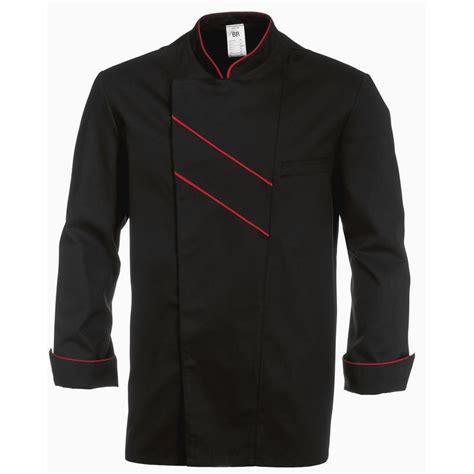 veste de cuisine homme veste cuisine grand chef noir avec passepoil et rayures