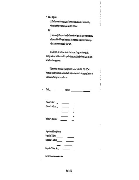 Dissolution of Marriage Form (Without Minor Children