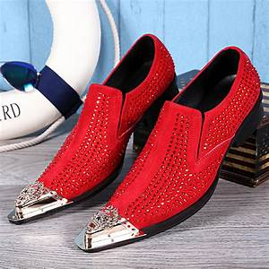 New genuine leather formal shoes pointed toe crystal for Red dress shoes for wedding