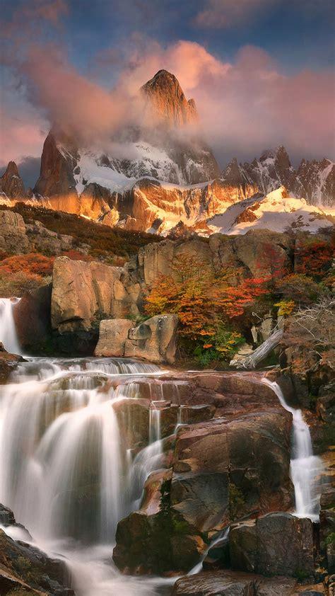 waterfall  mount fitz roy  autumn los glaciares national park el chalten argentina