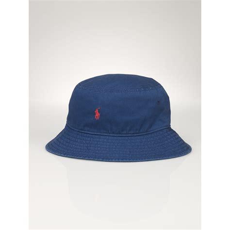 lyst ralph lauren pony cotton chino bucket hat  blue