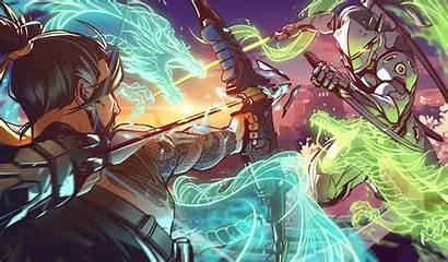 Overwatch Genji Hanzo Vs Supernova Artwork Wallpapers