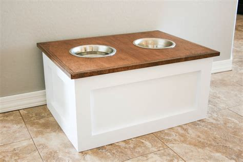 elevated cat food table ana white diy dog food station with storage featuring