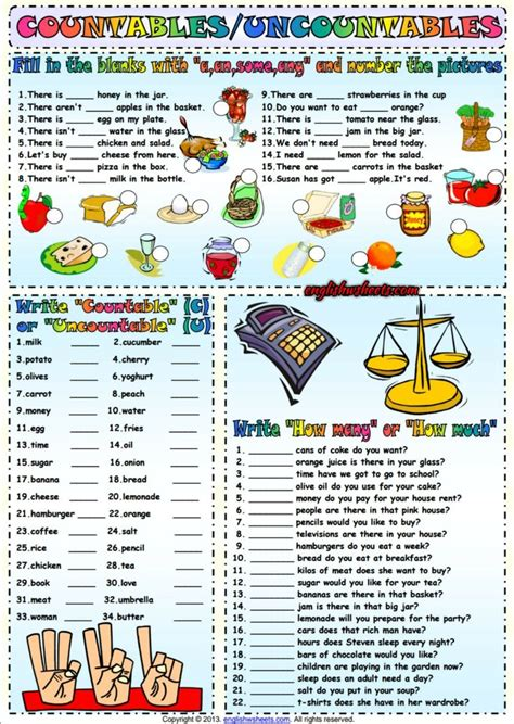 countables and uncountables esl exercises worksheet esl