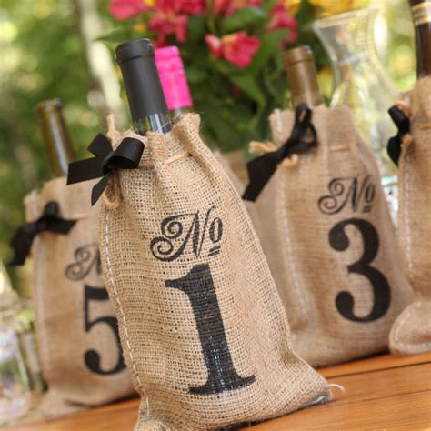 Rustic Country Burlap Wine Bag Birthday Bridal Wedding