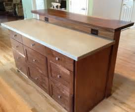 kitchen island with wheels custom kitchen island with slab bar top by saw tooth