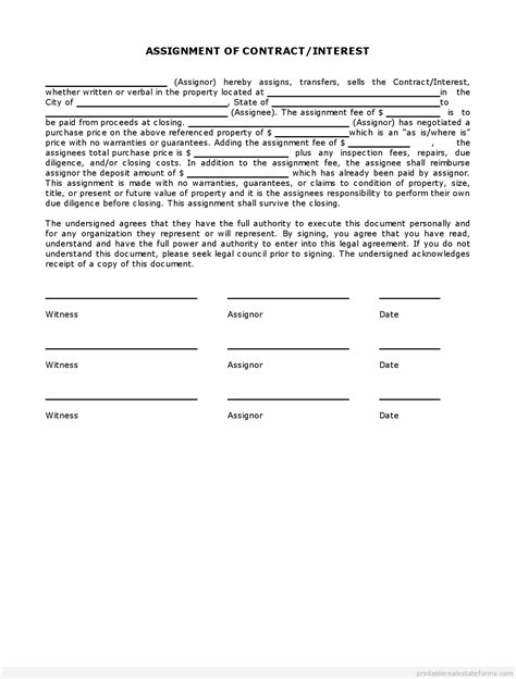 simple interest contract form simple assignment of contract interest in estate pdf