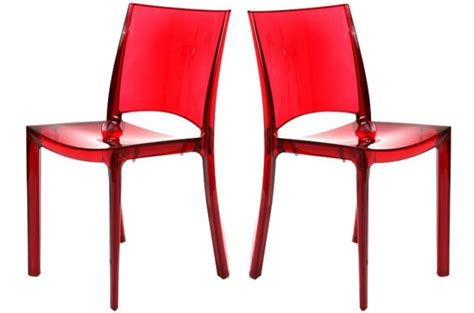 chaises rouges lot de 2 chaises transparente chaises