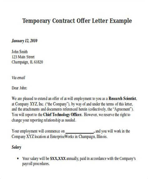 contract offer letter templates   word  format