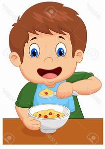 Best 15 Boy Is Having Cereal For Breakfast Stock Vector ...