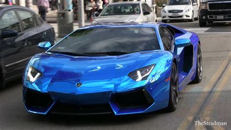 Outrageous Crazy Chrome Blue Lamborghini Aventador Driving